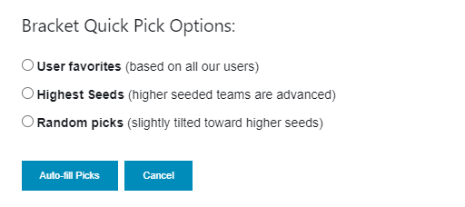 Bracket Quick-pick options