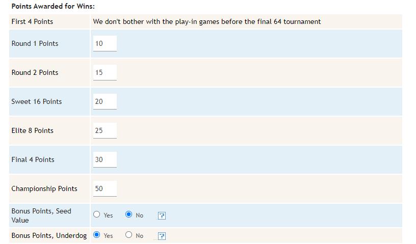 Tournament Bracket Manager Scoring Options