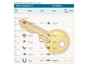 NFL Pick'em Key Games Feature