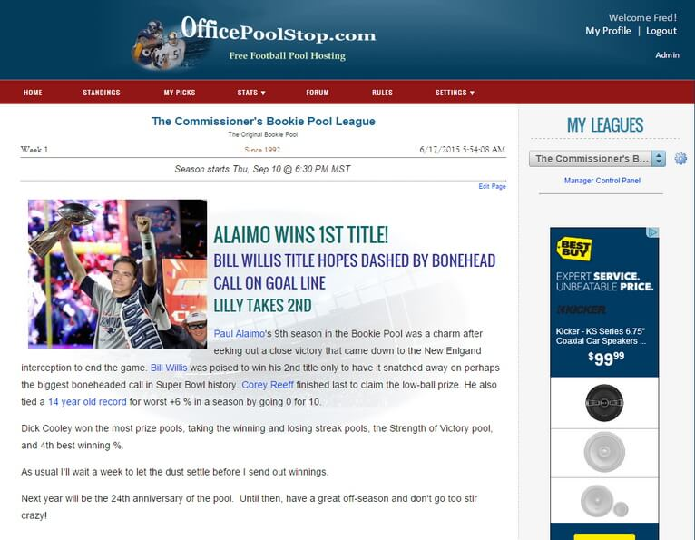 Office Pool League Home Page