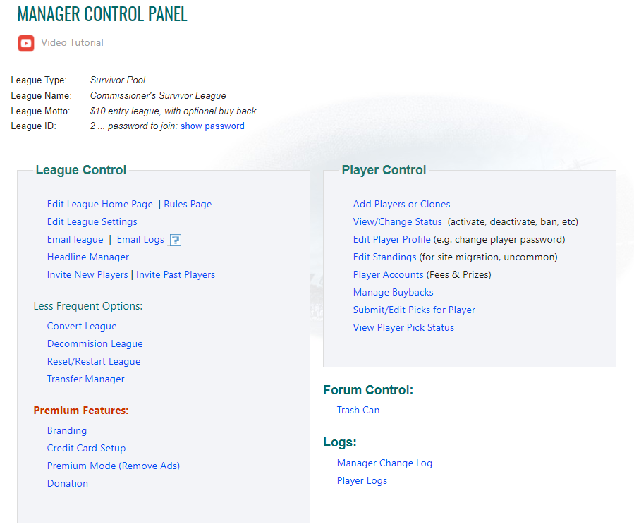 Office Pool Manager Control Panel