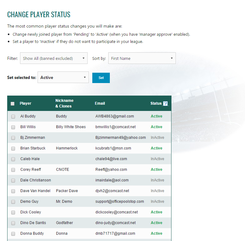 Office Pool Manage Player Status Page
